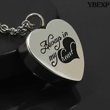 Always In My Heart Cremation Ash Jewelry Pendant Keepsake Memorial Urn Necklace