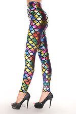 Womens rainbow Metallic mermaid fish scale leggings fancy dress size 8 & 10