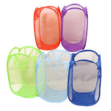 New Foldable Pop Up Washing Clothes Laundry Basket Bin Hamper Mesh Storage Bag