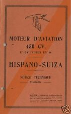 Hispano Suiza 12W 450cv 12W 12Y V12 Aero technical manual 1930's PERIOD HISTORIC