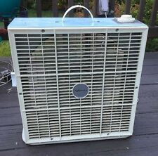 """Vintage VERNCO 2 speed 14"""" box fan with tilt stand baby blue"""