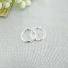 Korea Design Tiny Smooth Silver Round Hoop Earrings Ear Studs Jewelry Party