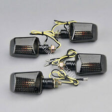 4x Motorcycle Bike Bulb Amber Turn Signal Indicators Light Smoke Lens Universal