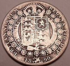 Huge Rare Silver Great Britain 1890 Half Crown~Victoria Dei Gratia~Free Shipping