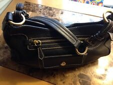 Prada Vitello Daino Black Leather Satchel With Gold Tone HW Handbag