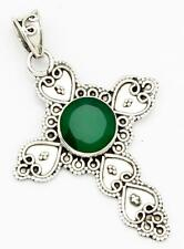 Green Onyx Gemstone Cross Pendant Solid 925 Sterling Silver Jewelry IP25213