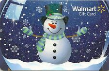 WalMart Christmas Snowman Snowglobe Snowing Sparkly 2013 Gift Card FD-37143