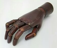 ANTIQUE WOOD JOINTED ARTICULATED ARTIST MODEL MANNEQUIN HAND DISPLAY