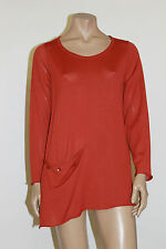 RISONA VISCOSE EXTRA FINE  WOOL POCKET PULLOVER SWEATER RED Sz 2  US 14 $190