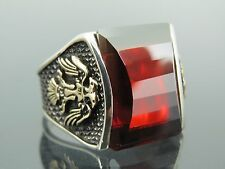 Turkish Handmade Ottoman Style 925 Sterling Silver Ruby Stone Men's Ring Sz 10