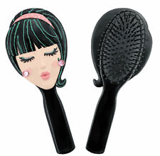 Trendy Girl Doll Face Black Hair Brush - Great Holiday Gift for Her