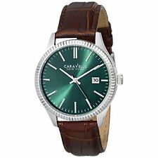Caravelle New York Men's 43B133 Stainless Steel Watch with Brown Leather Band