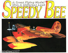 """Model Airplane Plans (RC): SPEEDY BEE 40"""" 4-Chan for .09-.26ci or Turbo 10 Elec."""