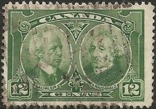 1927 CANADA 12c Stamp Mi: CA 125 USED Sir Wilfred Laurier & Sir J. A. Macdonald