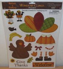 GANZ DRESS A TURKEY WINDOW CLINGS - 15'' x 12'' Thanksgiving Fall Reusable Sheet