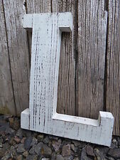 Large Distressed WHITE Weathered WOOD Marquee Wall Decor Wedding Prop LETTER = L