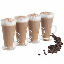 VonShef Set of 4 Tall Latte Mocha Cappuccino Coffee Hot Chocolate Glasses Mugs