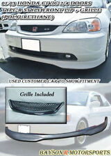 TR-Style Front Lip (Urethane) + Grill Fits 01-03 Civic 2/4dr