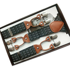 New Men Suspenders Y-Back Clip On Braces Argyle Elastic Belt Clothes Accessories