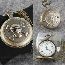 pirate Antique Bronze Tone Men Pocket Chain Quartz Pendant Watch Necklace Gift