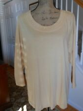 SAMANTHA'S STYLE SHOPPE  KNIT LONG SLEEVE ROUND NECK GOLD METAL STUDDED TOP NEW