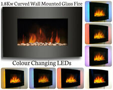 SLIM LED BACKLIT GLASS WALL MOUNTED FIREPLACE HEATER FLAME EFFECT ELECTRIC FIRE
