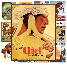 """Mini Posters [13 pages 8""""x11""""] Native American Indian Chief Vintage Travel MP600"""