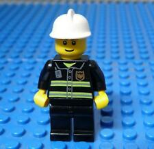 Lego Minifig City Fireman White Helmet Smile x1PC