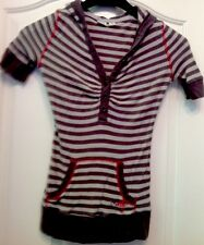 ROXY Gray Striped Short Sleeve Hoodie Size M