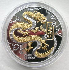 Mongolia 2000 Year of Dragon 2500 Tugrik 5oz Silver Coin,Proof