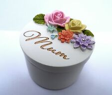 "Mothers Birthday/""Mum"" Occasion Gift-BOXED RESIN FLORAL LIDDED TRINKET BOX-NEW"