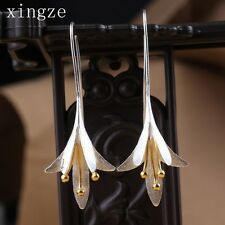 925 Silver Sterling Long Flower Drop Earrings Female High Quality Handmade Flowe