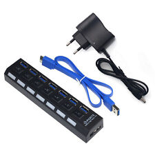 7 Port USB 3.0 HUB High Speed With Power Adapter Für PC Laptop Notebook EU Black