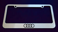 AUDI 4 RINGS LICENSE PLATE FRAME, CUSTOM MADE OF CHROME (Zinc Metal)