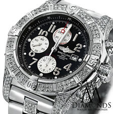 Diamond Breitling Super Avenger A13370 Black Dial Watch 2 Row Diamond Bezel