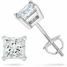 1/2 CTS PRINCESS CUT SOLID STUD EARRINGS SCREW BACK 14K WHITE GOLD