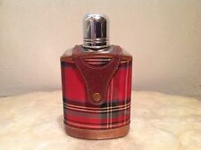 Vintage TARTANWARE Hip Flask PIGSKIN GLASS CHROME & CLOTH Scotland c. 1920s-50s