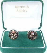 1952 Sixpence cufflinks from real coins in Black & Gold
