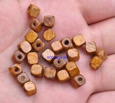 100pcs Light coffee Charms Square Wood Loose Spacer Beads 6X6mm Jewelry