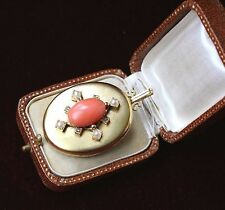 LARGE ANTIQUE VICTORIAN 18 K GOLD & RED CORAL DIAMONDS & PEARLS LOCKET PENDANT