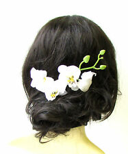 Long White Orchid Flower Stem Hair Comb Fascinator Headpiece Rockabilly 1273