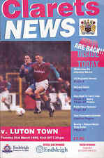 1994/95 BURNLEY V LUTON TOWN 21-03-1995 Division 1 (Very Good)