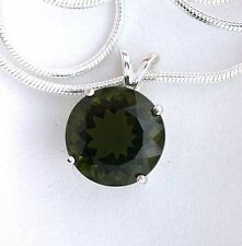 4.55 Carat Round Natural Moldavite Gemstone Sterling Pendant + FREE CHAIN ES4096
