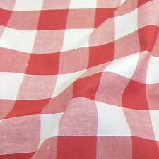"Corded Gingham Fabric 1"" (25mm) Check Dress Material  - 44"" (112cm) wide"