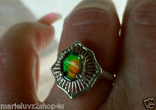 """CYBER SALE "" ! Ammolite In Sterling Silver Starburst Size 7 Ring NICE COLOR !"