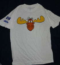 Mens Bullwinkle the Moose T - Shirt White Large Short Sleeve Graphic Tee L