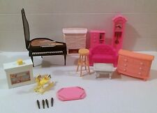 1990s Barbie Furniture Piano Clock Dresser Fireplace Sofa Table Chair RARE HTF!