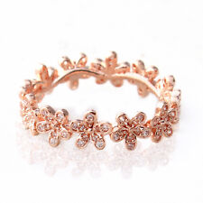 Rose Gold Ring Solid Sterling Silver Dazzling Daisy Flowers Stacking 8.5 / 58