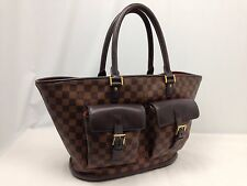 Authentic Louis Vuitton Manosque Damier Ebene Tote Bag PVC Brown 6C220450#