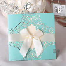 12 Blue Wedding Invitation Cards Kit Custom Personalized Printing with Bowknot